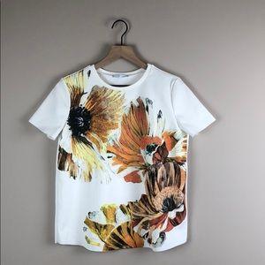 NWOT Zara Basic Floral Short Sleeve Cream Top (S)